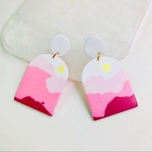 Pink Sunrise Acrylic Dangle Earrings